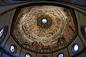 Last Judgement frescoes of the dome of Brunelleschi, by Vasari and Zuccari, Florence, UNESCO World Heritage Site, Tuscany, Italy, Europe
