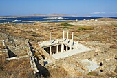 House of Trident, archaeological site, Delos, UNESCO World Heritage Site, Cyclades Islands, Greek Islands, Aegean Sea, Greece, Europe