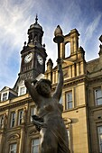 Statue of Even by Alfred Drury and Old Post Office, City Square, Leeds, West Yorkshire, Yorkshire, England, United Kingdom, Europe