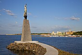 Bulgaria, Black Sea, Nessebar, Harbor, Seaport, Statue of St. Nicholas in South Nessebar Bay.