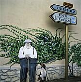 Wall art, near Reims, Champagne, France, Europe