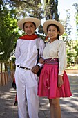 Traditionally dressed young couple, Tupiza, Bolivia, South America