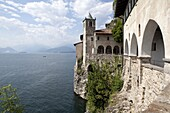 Hermitage of Santa Caterina del Sasso, Lake Maggiore, Lombardy, Italian Lakes, Italy, Europe