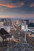 Elevated view of the hotels and casinos along The Strip at dusk, Las Vegas, Nevada, United States of America, North America