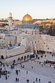 Jewish Quarter of the Western Wall Plaza with people praying at the Wailing Wall, Old City, UNESCO World Heritage Site, Jerusalem, Israel, Middle East
