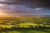 Storm light over Devon countryside near Brentor, Dartmoor National Park, Devon, England, United Kingdom, Europe