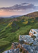 Sunrise over the Llangattock Escarpment in the Brecon Beacons, Powys, Wales, United Kingdom, Europe