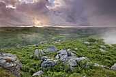 Granite rocks and bracken at Holwell Tor, looking towards Hound Tor on a stormy and misty Summer evening, Dartmoor National Park, Devon, England, United Kingdom, Europe