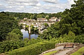 Castle Grounds Viewpoint looking toward Knaresborough Viaduct and River Nidd, Knaresborough, North Yorkshire, Yorkshire, England, United Kingdom, Europe