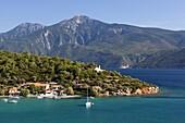 View over east coast village, Posidonio, Samos, Aegean Islands, Greece