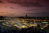 Food stalls at dusk in the main square, Jemaa el Fna in Marrakech, Morocco, North Africa, Africa