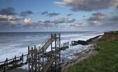 The heavily eroded coastline at Happisburgh, Norfolk, England, United Kingdom, Europe