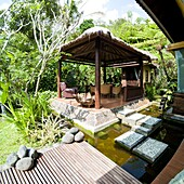 Outdoor area at luxury accommodation near Ubud on the island of Bali, Indonesia, Southeast Asia, Asia
