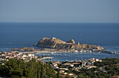 An aerial view of the town of L'Ile Rousse in the Haute-Balagne region of Corsica, France, Mediterranean, Europe