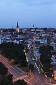 Dusk over the city centre and Old Town, UNESCO World Heritage Site, Tallinn, Estonia, Europe