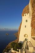 Hozoviotissa monastery and Aegean Sea, Amorgos, Cyclades, Greek Islands, Greece, Europe