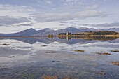 Castle Stalker reflecting into the waters of Loch Laich, Argyll and Bute, Scotland, United Kingdom, Europe
