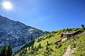 Path leading towards alpine hut at Schachen, Schachen, Wetterstein range, Werdenfelser Land, Upper Bavaria, Bavaria, Germany
