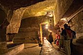 Naples underground, Sotterranea, subterranean tour, yellow tufa, ancient Roman cistern, historic centre, Naples, Napoli, Italy