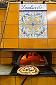 Pizza, Pizzeria Lombardi, simple and traditional, wood-fired oven, yellow tiles, oven entrance, dough, pastry, popular, fast-food, Italian, restaurant, lifestyle, culture, Italian food, Naples, Italy