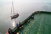 on board the ferry to Island of Juist, North Sea, Lower Saxony, Germany
