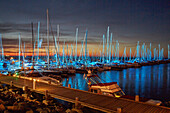 Yacht harbour at night, Kuehlungsborn, Baltic Sea Coast, Mecklenburg Western Pomerania, Germany