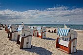 Beach chairs on the beach, Kuehlungsborn, Baltic Sea Coast, Mecklenburg Western Pomerania, Germany