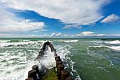 Spur dyke on the beach near Ahrenshoop, Darss, Baltic Sea, Mecklenburg-West Pomerania, Germany