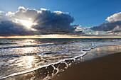 Thunderclouds at western beach, Darss, National Park Vorpommersche Boddenlandschaft, Baltic Sea, Mecklenburg-West Pomerania, Germany