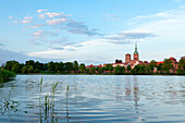 View over the Knieperteich to the Old Town and the Nikolaikirche, Stralsund, Baltic Sea, Mecklenburg-West Pomerania, Germany