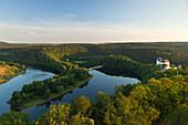 Saale barrage near Burgk castle, nature park Thueringer Schiefergebirge / Obere Saale,  Thuringia, Germany