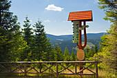 "Signpost at the Goethe hiking trail to Kickelhahn hill, near Ilmenau, nature park ""Thueringer Wald"",  Thuringia, Germany"