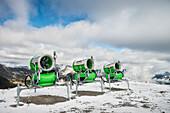 snow cannons at Hintertux Glacier, Zillertal, Tyrol, Austria, Alps
