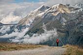 hiker at the Hintertux Glacier, Zillertal, Tyrol, Austria, Alps