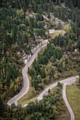Serpentines leading up to the Schlegeis Dam, Zillertal, Tyrol, Austria, Alps