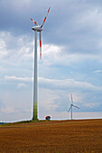 Wind energy on the Hardberg at Waldsachsen , Community of Schonungen, Unterfranken, Bavaria, Germany, Europe