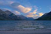 Evening at Upper Waterton Lake, Waterton Lakes National Park, Rocky Mountains, Alberta, Canada