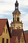Bergrheinfeld with St. Michael church, Spring, Unterfranken, Bavaria, Germany, Europe
