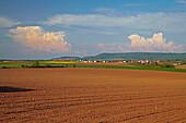 Blick über Felder auf Dingolshausen, Wolke, Frühling, Unterfranken, Bayern, Deutschland, Europa