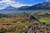 hikers at trekking through mountains of Cerro Castillo, Carretera Austral, Región Aysén, Patagonia, Andes, Chile, South America