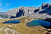 Lakes Zinnenseen beneath Paternkofel, Val Pusteria Valley, Sesto, Dolomites, South Tyrol, Veneto, Alto Adige, Three Peaks (Tre Cime di Lavaredo) Nature Park, UNESCO world heritage side, Italy, European Alps, Europe