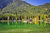 Toblacher See (Lago di Dobbiaco) in autumn,  Nature Park Fanes-Sennes-Braies, Val Pusteria Valley, Sesto, Dolomites, South Tyrol, Veneto, Alto Adige, UNESCO world heritage side, Italy, European Alps, Europe