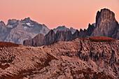 Cadini di Misurina after sunset, Val Pusteria Valley, Sesto, Dolomites, South Tyrol, Belluno, Veneto, Alto Adige, Three Peaks (Tre Cime di Lavaredo) Nature Park, UNESCO world heritage side, Italy, European Alps, Europe