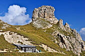 Small hut and rock formation near the mountain Rotwand, part of Rosengarten, Catinaccio, St. Zyprian, Tiers, Tiers Valley, Nature Park Schlern Rosengarten, Dolomites, South Tyrol, Alto Adige, UNESCO world heritage side, Italy, European Alps, Europe
