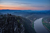 Sunrise over Elbe river from Bastei rock towards Wehlen, Pirna and rock formations, Rathen, Elbe Valley, Elbe Sandstone Mountains, Saxon Switzerland, Saxony, Germany