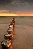groynes at beach at Baltic Sea with stormy sky at sunset, Zingst,  National Park Vorpommersche Boddenlandschaft, Zingst Darß Fischland Peninsula, Mecklenburg Western Pomerania, Germany