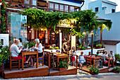 Restaurant along the promenade, Alvor, Algarve, Portugal