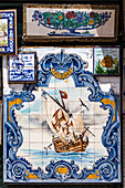 Tiled picture of a sailing boat, Algarve, Portugal