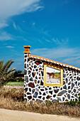 House with tiled picture, Zambujeira do Mar, Costa Vicentina, Alentejo, Portugal