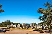 Megalithic stone ring, Cromeleque dos Almendres, Evora, Alentejo, Portugal